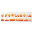 flame and fire set on transparent background hand vector image vector image