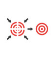 flat design concept of four part bulls eye and vector image