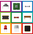 flat icon appliance set of cpu recipient resist vector image vector image