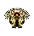 fly fisherman holding largemouth bass woodcut vector image