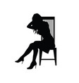 girl silhouette on chair vector image vector image