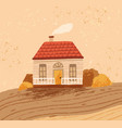 hand drawn cozy rustic house against landscape vector image vector image