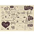handlettering elements and words vector image vector image