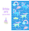 happy birthday holiday card with unicorns flags vector image vector image