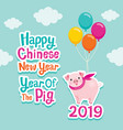 happy chinese new year 2019 year of the pig vector image