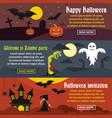 happy halloween banner horizonatal set flat style vector image vector image