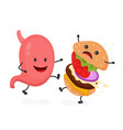 happy smile strong stomach kick burger vector image vector image