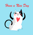 holiday greeting card with a cheerful cat vector image vector image