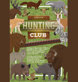 hunting club poster of wild animals vector image vector image