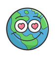 in love planet earth cartoon vector image vector image