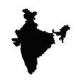 india map silhouette in black on a white vector image