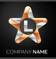 letter l logo symbol in the colorful star on black vector image vector image