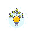 light bulb with green leaves icon vector image