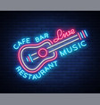 live music neon sign poster emblem for vector image vector image