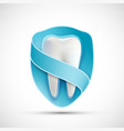 logo white tooth in the shield vector image vector image