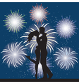 Lover and fireworks vector image vector image