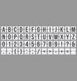 mechanical scoreboard flip font with alphabet vector image