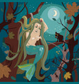 mermaid sits on a tree branch vector image