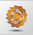 metallic gear icon for web design vector image vector image