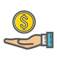money in hand filled outline icon business vector image vector image