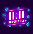 november 11 super sale shopping day neon sign vector image vector image
