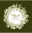 olive oil poster of olives branch wreath vector image vector image