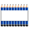 paper template with sharp pencils in blue vector image vector image
