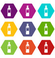 plastic bottle icons set 9 vector image vector image