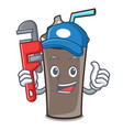 plumber ice chocolate mascot cartoon vector image vector image