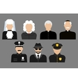Policemen judges priests and detective avatars vector image vector image