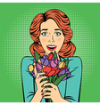 Pop art Beautiful Woman with Bunch of Flowers vector image vector image