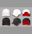 realistic baseball cap mockup isolated white vector image vector image