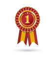 Red and gold ribbons award isolated on white vector image