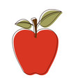 red apple with stem and leaves in watercolor vector image