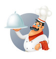 restaurant chef cook serving food 3d cartoon vector image vector image