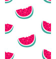 seamless pattern watermelon isolated on white vector image