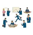 set businessman drawings doing eight activities vector image