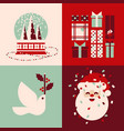 set christmas cards with snow globe santa gifts vector image vector image