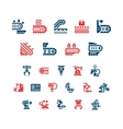 Set color icons of conveyor and robotic industry vector image vector image
