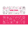 set new year modern colored outline vector image vector image