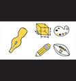 set of school busines equipment doodle icons vector image vector image