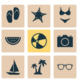 sun icons set collection of star trees ship and vector image vector image