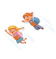 superhero kids fly to school vector image vector image