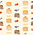 sweet pancakes seamless pattern flat vector image vector image