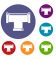 t pipe connection icons set vector image vector image