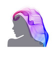 womans profile with long beautiful hair vector image vector image
