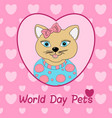 world day pets a cat with a pink bow print for vector image vector image