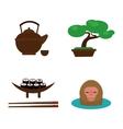 Sushi food and japan landmark travel icons vector image