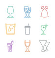 9 cocktail icons vector image vector image
