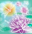 background with flowers lotus and dragonfly vector image vector image